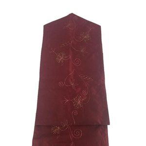 Christmas Holiday Table Runner Rust Brown Floral